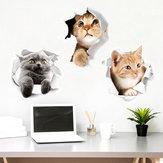 Miico Creative 3D Cute Cat Broken Wall PVC Removable Home Room Decorative Wall Door Car Mirror Decor Sticker