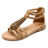 Large Size Bohemian Weave Casual Zipper Flat Sandals