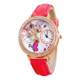 Women Girls 3D Butterfly Crystal Denim Canvas Band Quartz Fashion Wrist Watch