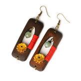 Ethnic Handmade Wood Jade Earrings Vintage Gold Daisies