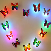 Miico Colors Changing LED Flashing Butterfly Night Light Decorative Lights 3D Home Decor Stickers