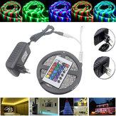 5M Waterproof 3528 RGB 300 LEDs  Flexible Strip Light 24 Keys IR Remote + Power Adapter DC12V
