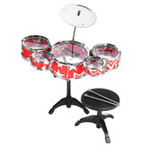 9Pcs Childs Kids Drum Kit Jazz Banda Batería de sonido Play Set Juguete musical con baquetas para taburete