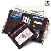 Original GZCZ Women Men RFID Genuine Leather Coin Bag