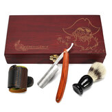 4Pcs Shaver Kit Razor Brush Strop Wooden Box Set