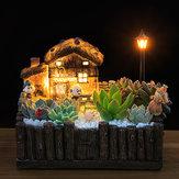 Original Iluminación Glasse's Cabin Pot Adornos artesanales Magia Linterna Casa Jardinera Bonsai Decoraciones