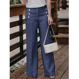 Original Women Casual Cotton Linen Solid Color High Waist Button Pant
