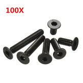 Suleve™ M3CH4 M3 Carbon Steel Countersunk Hex Socket Screw 6-20mm Flat Head Hex Screw Metric 100pcs
