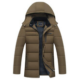 Mens Winter Thick Warm Parka Casual Solid Coilor Mid-long Jacket