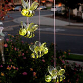 Halloween Light Bee Style Solar LED Discolored Wind Chimes Bell Hanging Fountain Light Festival Garden Decor