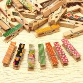 50 pcs joli mini-bois chevilles artisanales peintes photo en tissu tableau accroché pinces à ressort clothespin