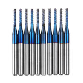 Drillpro 10pcs 1.6-2.0mm Blue NACO Coated PCB Bit Carbide Engraving Milling Cutter For CNC Tool Rotary Burrs