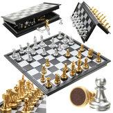 Jeu d'échecs Silver Gold Pieces Pliable Pliable Pliable Jeu Contemporain
