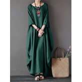 L-5XL Women Loose Pure Color Baggy Maxi Dress