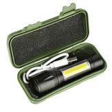 XANES 1517B XPE+COB Dual Lumières 1000Lumens Zoomable USB Rechargeable EDC Tactique LED Kit de Lampe de Poche