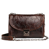 Original Brenice Cowhide Women Embossed Retro Fashion Lock Sling Bag Shoulder Crossbody Bag