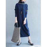Acrylic Loose Women Turtleneck Striped Long Sweater Dress