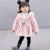 Kid Baby Girls Faux Fur Hooded Coats