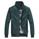 Casual Business Pure Color Zipper Stand Collar Men Jacket