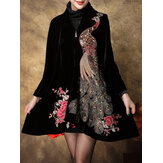 S-5XL Elegant Women Peacock Embroidery Coats