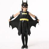 Las niñas de Halloween Kid Negro traje de cosplay sin mangas del palo