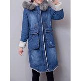 Casual Women Faux Fur Collar Double Pocket Thick Denim Coat