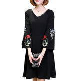 Elegant Women A Line Dress Embroidered Lantern Sleeve Casual Dresses