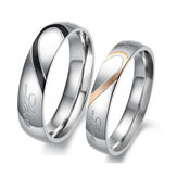 1PC Valentines Titanium Steel Heart Shape Puzzle Ring Couples Rings