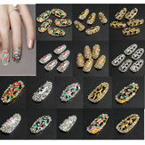 Crystal Rhinestones Flower 3D Hollow Nail Art Tips DIY Decorations
