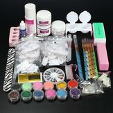 Pro Glitter Acrylic Powder Brush Tweezer Primer Nail Art Tips Kit Set