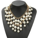 Women Occident Style Multilayer Alloy Pearl Chain Necklacee