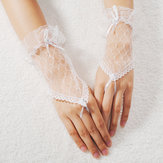 Lace Wrist Fingerless Wedding Evening Party Bridal Short Gloves Dress