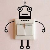 Black Robot Switch Sticker Living Room Bedroom Wall Poster Home Decor