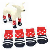 Star Pattern Blue And Red Anti-Slip Soft Cotton Knit Pet Socks