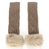 Zanzea Faux Fur Fingerless Long Sleeve Gloves