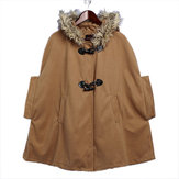 Women Fur Horn Button Bow Hooded Coat Shawl Cape Warm Jacket Coat