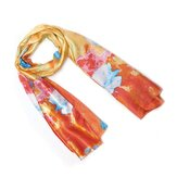 Oil Painting Style Lotus Pattern Scarf Shawl