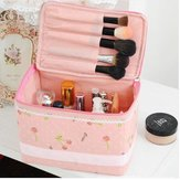 Portable Pink Non-woven Fabric Cosmetic Bag Lace Makeup Case