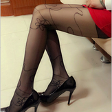 Black Streamline Flowers Elegant Thin Sexy Tights Stockings