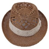 Hollow Out Lace Banded Handicraft Topee Straw Hat