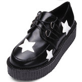 Retro Women Platform Lace Up Flat Creepers Punk Goth Shoes
