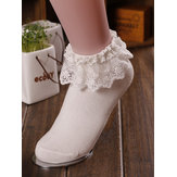 Women Vintage Lace Ruffle Frilly Ankle Socks