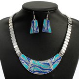 Carve Rhinestone Geometric Alloy Earrings Necklace Jewelry Set