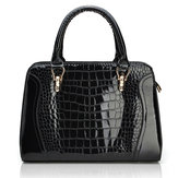 Fashion Crocodile Pattern PU Women's Handbag Patent Leather Bag