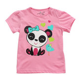 Little Maven Baby Girl Children Panda Red Cotton Short Sleeve T-shirt Top
