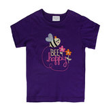 Summer Baby Girl Children Bee Purple Cotton Short Sleeve T-shirt