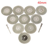10pcs 40mm Diamond Grinding Wheel Cutting Disc with 2 Mandrels for Dremel Rotary Tool