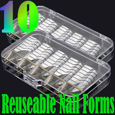 10pcs Silver Nail Art UV Gel Acrylic Extension Guide Forms