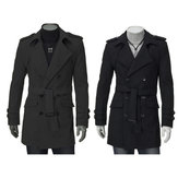 Mens Casual Trench Double Breasted Slim Fit Solid Color Long Winter Coat