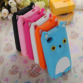 UK 3D COCO Cat With Ear Cute Soft Silicone Case For iPhone 4